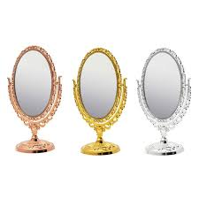 table mirror: popular vintage oval  rotating gold silver bronze dual sided vanity make up makeup cosmetic table