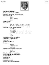 Medical Doctor Curriculum Vitae Example Httpwww Resumecareer How To