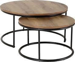 quebec round coffee table set in medium
