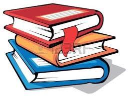 stack of books cartoon black and white kid