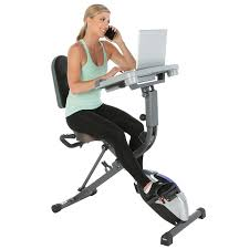 com exerpeutic workfit 1000 fully adjule desk folding exercise bike with pulse sports outdoors