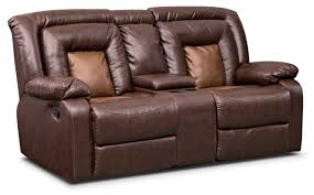 living room furniture mustang dual reclining loveseat with console brown