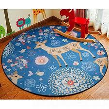 bmky doormats round kids room rug lego toys storage organizer bag large cotton anti slip cartoon animal children s floor play game mat with drawstring for