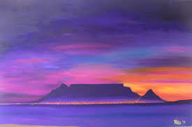 table mountain with purple sunset painting 51x1x76 cm 2016 by rita kili
