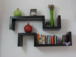 Furniture Simple Minimalist Wall Book Shelves Design With Black Square  Hanging On The White Smart Space