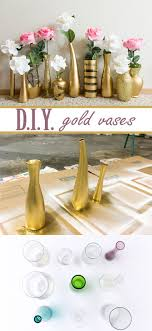 Learn how to create these beautiful gold and glitter vases for super cheap!  Use vases from a thrift store and gold spray paint to create elegant and ...
