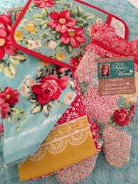 pioneer woman flea market roses aqua kitchen towels oven mitt pot holder 4 pc thepioneerwoman source by fefewessel