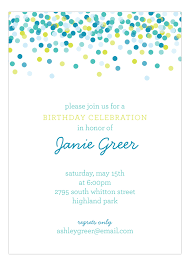 Polka Dot Invitations Blue Falling Confetti Invitation
