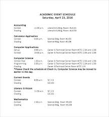 Event Itinerary Template Stunning Event Itinerary Template Academic Schedule Competent Picture Golf