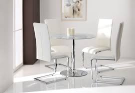 small glass dining room sets. Dining Room, Round Evo Vlear Glass Top Table With Chrome Polished Legs And Base Small Room Sets