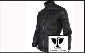 photo of high neck moto rider jacket slim cut 02