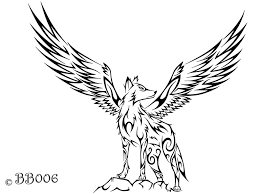 tribal wolf with wings drawing. Brilliant Wings Tribal Winged Wolf On With Wings Drawing L