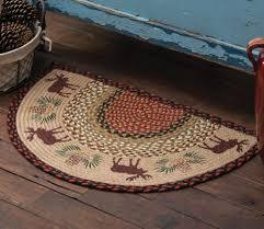 moose pinecone half round braided rug