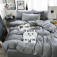 parkshin cat bedding sets linen cotton gray bedspread comforter duvet cover double bed sheets twin queen king bedclothes fieldcrest bedding black