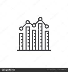 Bar Graph Column Chart Line Icon Outline Vector Sign Linear