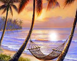 sunset siesta paintings attractions dreams sky sunsets romantic summer nature beaches hammock beautiful lovely seaside palm