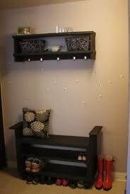 Entryway Wall Coat Rack Furniture Enchanting Black Entryway Bench With Wall Mount Coat Rack 72