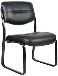 office guest chair. boss - armless leather sled office guest chair