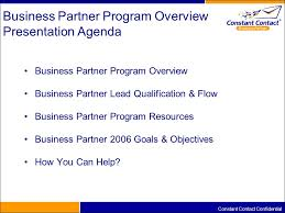 business partner program overview discussion alec stern vp  2 constant contact confidential business partner program overview presentation