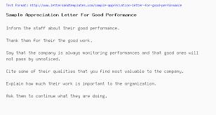 Sample Appreciation Letter For Good Performance
