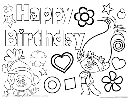 Small Picture Free Trolls Birthday Coloring Page Celebrate their birthday with