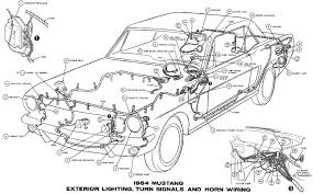 1964 mustang wiring diagrams average joe restoration sm1964h 1964 mustang exterior lighting turn signals and horns pictorial or schematic