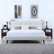 ivory tufted headboard. Unique Ivory Divano Roma Furniture MidCentury Ivory Linen Low Profile Platform Bed  Frame With Tufted Headboard On