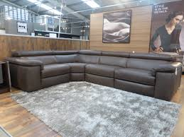 natuzzi editions domenica leather power reclining corner sofa grey