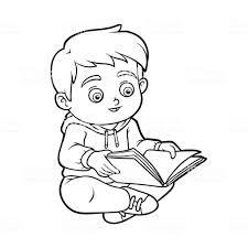 本を読んで若い男の子の塗り絵 おもちゃのベクターアート素材や画像を