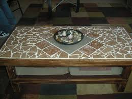 ... Coffee Table, Incredible Teak Rectangle Traditional Oak Tile Top Coffee  Table With Storage Design To ...
