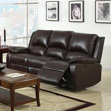 furniture of america oxford casual rustic dark brown faux leather reclining sofa
