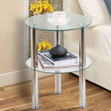 2 tier modern clear small round glass sofa side end coffee table chrome steel uk