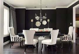 lovely use of black and white in the dining white dining chairs
