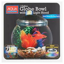 Aqua Culture 1-Gallon Globe Bowl with LED Light, 7.25