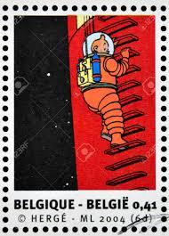 België Circa 2004 Stempel Gedrukt In België Gewijd Aan Kuifje En Raket Naar De Maan Circa 2004