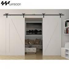 winsoon 5 18ft sliding barn door hardware aluminum rollers track kit cabinet closet eagle design