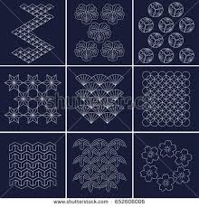 Sashiko Patterns Enchanting Japanese Pattern Sashiko Form Decorative Reinforcement Stock Vector