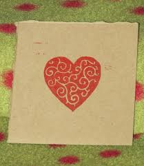 Scroll Heart Scroll Heart Block Print Red On Brown Kraft Paper Red Heart Hand Pulled Print