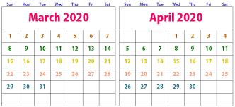 March April 2020 Calendar Printable Templates