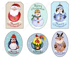 Set Of Christmas Tags With Santa Snow Maiden And Funny Animals