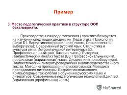 Презентация на тему Программы учебных и производственных практик  66 Пример 3 Место педагогической практики