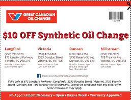 From 11.59pm on 3 february masks must be worn in all public indoor spaces, except when eating or drinking, and it is strongly. Oil Change Coupons In Victoria Douglas Langford Millstream Vancouver Island