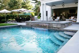 Exellent Custom Pool Designs Which Raised Spa In Connecticut Inside Beautiful Design