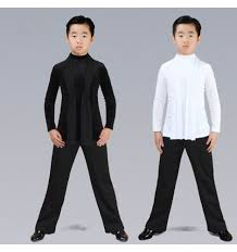 Shirts And Pants Boys Latin Ballroom Dance Tops And Pants Children White Black Stage Performance Competition Chacha Rumba Waltz Tango Dance Shirts And Long Pants