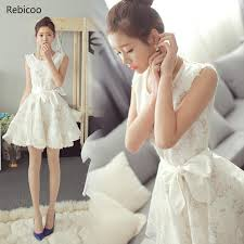 cute korean white summer dresses 2021