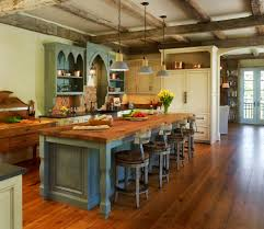 shabby turquoise finishing on main island with thick wooden countertop