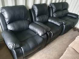 old sofa with 2 recliner armchair