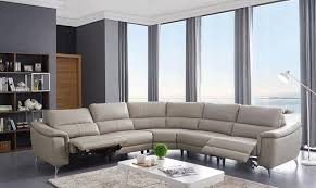details about light grey top grain leather electric recliner sectional sofa modern esf 951