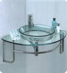 Fresca Ordinato Single 24Inch Modern Corner WallMount Bathroom Vanity Set  Glass