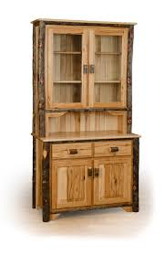 Amish Cabinet Doors Rustic Hickory 2 Door Buffet And Hutch China Cabinet Available